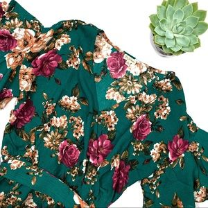 Lily White Hunter Green Floral Wrap Blouse